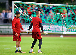 ROTTACH-EGERN, GERMANY - Friday, July 28, 2017: Liverpool's Emre Can and goalkeeper Simon Mignolet move the goal during a training session at FC Rottach-Egern on day three of the preseason training camp in Germany. (Pic by David Rawcliffe/Propaganda)