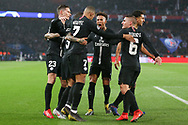 GOAL - Kylian Mbappe of Paris Saint-Germain celebrates with Marquinhos of Paris Saint-Germain Marco Verratti of Paris Saint-Germain Thilo Kehrer of Paris Saint-Germain and Julian Draxler of Paris Saint-Germain 1-1 during the Champions League Round of 16 2nd leg match between Paris Saint-Germain and Manchester United at Parc des Princes, Paris, France on 6 March 2019.