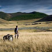 Man pulling wheeled cart through Mongolian countryside (, Mongolia - Sep. 2008) (Image ID: 080909-1810441a)