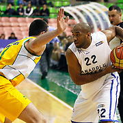 Anadolu Efes's Alfred Jamon Lucas (R) during their Turkish Basketball League match Anadolu Efes between Olin Edirne at the Ayhan Sahenk Arena in Istanbul, Turkey on Sunday, 17 March, 2013. Photo by TURKPIX