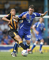 Photo: Lee Earle.<br /> Cardiff City v Hull City. Coca Cola Championship. 28/04/2007.Hull's Lee Peltier (L) battles with Darcy Blake.