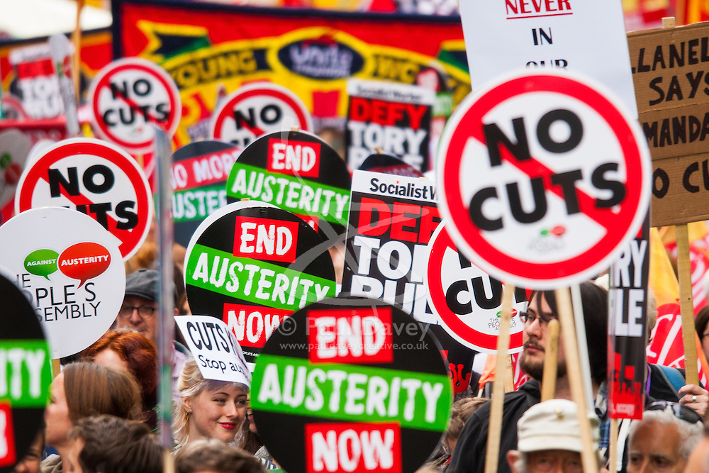 London, June 20th 2015. Thousands of people converge on the streets of London to join the People's Assembly Against Austerity's march from the Bank of England to Parliament Square. PICTURED:   //Contact for image Licencing: Paul@pauldaveycreative.co.uk Tel:07966016296