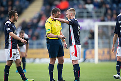 Ref John McKendrick at Falkirk's Craig Sibbald after his tackle on Brechin City's Paul McLean. <br /> Falkirk 2 v 1 Brechin City, Scottish Cup fifth round game played today at The Falkirk Stadium.