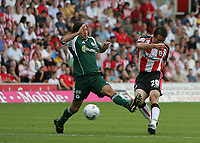 Photo: Lee Earle.<br /> Southampton v Panathinaikos. Pre Season Friendly. 29/07/2006. Southampton's David Prutton (R) scores their opening goal.