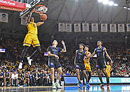 Trey Wade #5 of the Wichita State Shockers dunks the ball against Lawson Korita #5 of the Tulsa Golden Hurricane during the first half at Charles Koch Arena on March 8, 2020 in Wichita, Kansas.