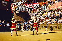 Pageantry before the running of The Palio (medieval horse race), Il Campo (Central Plaza), Siena, Tuscany, Italy