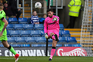 Forest Green Rovers goalkeeper James Montgomery clears the ball forward during the The FA Cup 1st round match between Oxford United and Forest Green Rovers at the Kassam Stadium, Oxford, England on 10 November 2018.
