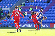 Cardiff City's Tom Sang (28) is upended during the EFL Sky Bet Championship match between Cardiff City and Nottingham Forest at the Cardiff City Stadium, Cardiff, Wales on 2 April 2021.