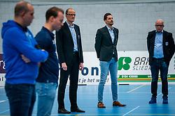One minute of silence in memory of coach Olaf Olaf Ratterman of volleybay club Bielderman Koetsier / SSS in the first league match in the corona lockdown between Sliedrecht Sport vs. Draisma Dynamo on January 09, 2021 in Sliedrecht.