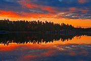 Clouds reflected in Grundy Lake at sunrise<br />Grundy Lake Provincial Park<br />Ontario<br />Canada