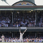 Tendulkar celebrates his century in front of the packed Sydney Cricket Ground members stand during the Australia V India test match.   040108 Tim Clayton