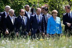 07.06.2015, Schloss Elmau, Krün, GER, G7 Gipfeltreffen auf Schloss Elmau, im Bild Spaziergang vor Schloss Elmau, von links: Stephen Harper, Jean-Claude Juncker, Francios Hollande, Barack Obama, Donald Tusk, Shinzo Abe, Angela Merkel und David Cameron // during the G7 summit at Schloss Elmau in Krün, Germany on 2015/06/07. EXPA Pictures © 2015, PhotoCredit: EXPA/ SM<br /> <br /> *****ATTENTION - OUT of GER*****
