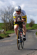 United Kingdom, Finchingfield, Mar 27, 2010:  Daniel Babbs, Chelmer CC, approaches the 4 miles to go marker during the 2010 edition of the 'Jim Perrin' Memorial Hardriders 25.5 mile Sporting TT promoted by Chelmer Cycling Club. Copyright 2010 Peter Horrell.