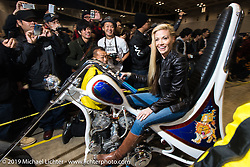 Jamie Noteboom in the hall at the Annual Mooneyes Yokohama Hot Rod and Custom Show. Japan. Sunday, December 7, 2014. Photograph ©2014 Michael Lichter.
