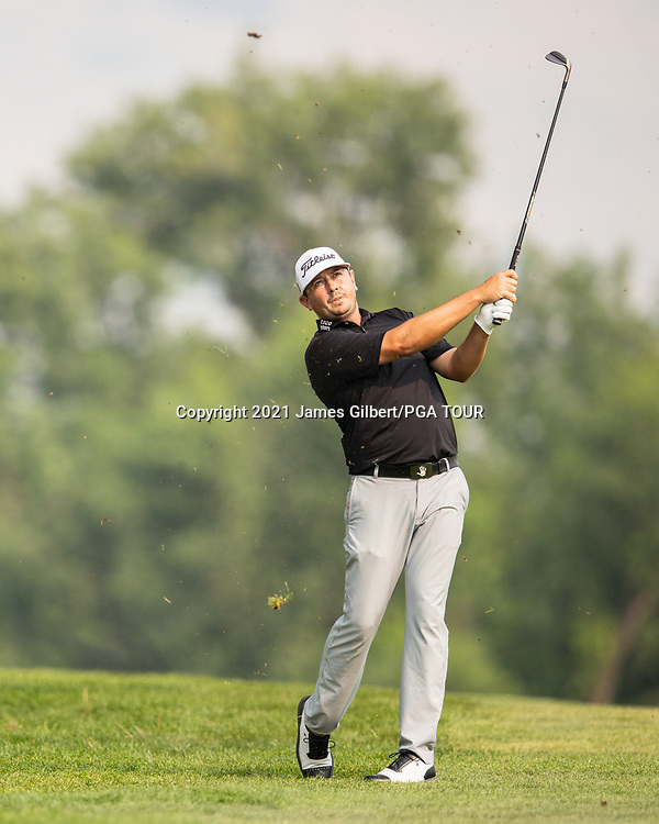 FARMINGTON, UT - AUGUST 08: Joshua Creel plays his shot on the 16th hole during the final round of the Utah Championship presented by Zions Bank at Oakridge Country Club on August 8, 2021 in Farmington, Utah. (Photo by James Gilbert/PGA TOUR via Getty Images)