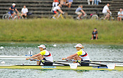 Munich, GERMANY,   GBR W2X Bow, Anna WATKINS and Katherine GRAINGER, Gold Medalist Women's Double Sculls.   2012 World Cup III on the Munich Olympic Rowing Course,  Sunday   17/06/2012. [Mandatory Credit Peter Spurrier/ Intersport Images]