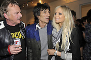 JOHN COLLINS; RONNIE WOOD;; NICOLA SARGEANT;;  , Faces, Time and Places. Symbolic Collection & Ronnie Wood private view, Cork St. London. 8 November 2011.<br /> <br /> <br />  , -DO NOT ARCHIVE-© Copyright Photograph by Dafydd Jones. 248 Clapham Rd. London SW9 0PZ. Tel 0207 820 0771. www.dafjones.com.