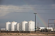 Rainbow at an oil industry site in Monahans, Texas in the Permian Basin.