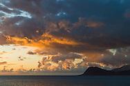Sunset over the southwestern shore near Paradise Cove, Kapolei, Oahu, Hawaii