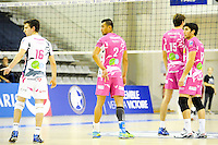 Nicolas Rossard / Toafa Takaniko / Nicolas Mendez - 20.12.2014 - Paris Volley / Sete - 12eme journee de Ligue A<br /> Photo : Andre Ferreira / Icon Sport