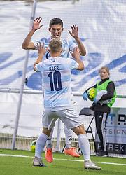 Målscorer Elijah Just (FC Helsingør) takker for assisten til Jeppe Kjær efter scoringen til 1-0 under kampen i 1. Division mellem FC Helsingør og Vendsyssel FF den 18. september 2020 på Helsingør Stadion (Foto: Claus Birch).