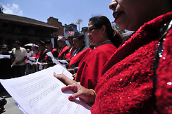 April 25, 2017 - Kathmandu, NP, Nepal - Nepalese people taking oath dedication, transparency and rightful implementation of the project to rebuild Kasthamandap at 11:56 am at infront of Kumari Ghar, Basantapur Durbar Square, Kathmandu, Nepal on Tuesday, April 25, 2017. Public declare that the community will rebuild Kasthamandap, with donations raised from the public, while staying within the norms of the Department of Archeology of the Nepal government. Most of houses, monuments and heritage sites were badly destroyed by earthquake on April 25, 2015, a magnitude of 7.8 earthquake killing over 8,000 of people in Nepal and thousands of injured, which Outcomes Hundreds of people were homeless with entire villages across many districts of the country. (Credit Image: © Narayan Maharjan/NurPhoto via ZUMA Press)