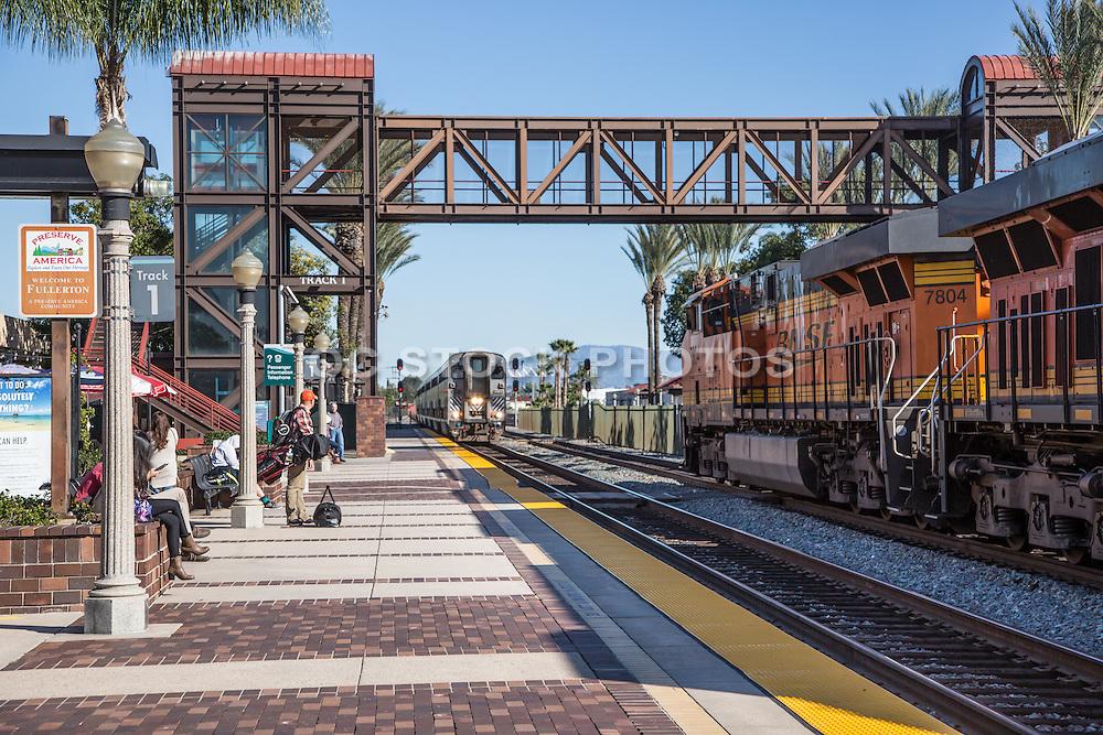 Passengers Waiting for Next Amtrak Service at Track 1  Platform at Fullerton Train Station