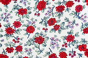close up of printed Floral design on fabric