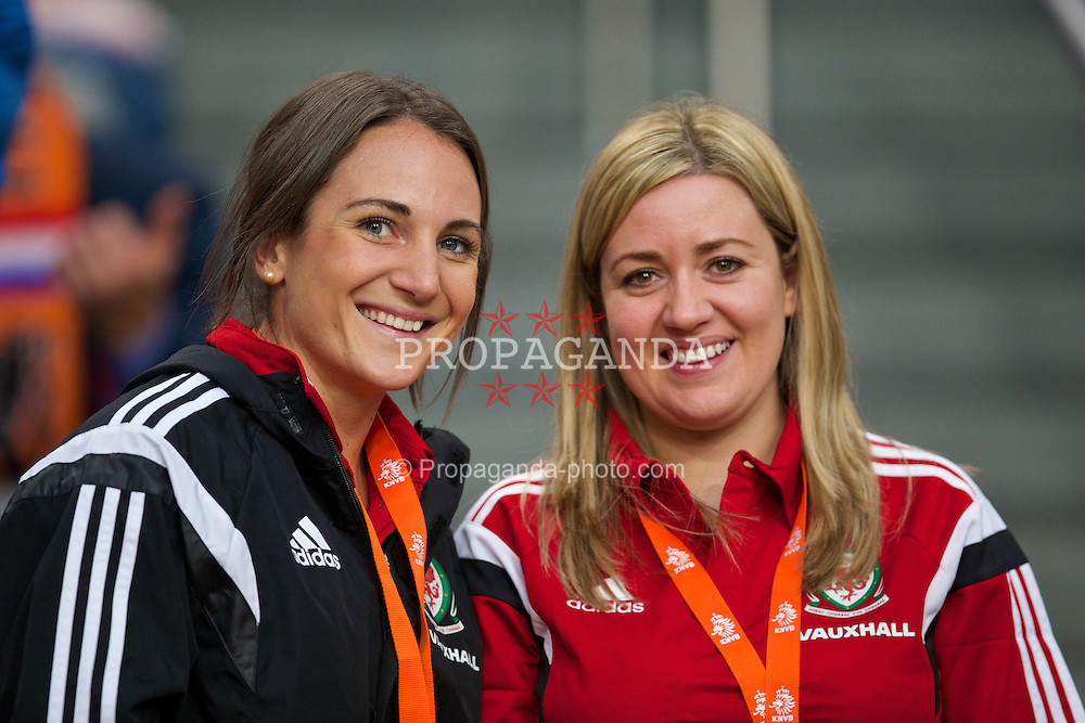 AMSTERDAM, NETHERLANDS - Wednesday, June 4, 2014: Wales' Rachel Watling and Lyndsey Owens during the International Friendly match at the Amsterdam Arena. (Pic by David Rawcliffe/Propaganda)