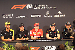 May 22, 2019 - Monte Carlo, Monaco - xa9; Photo4 / LaPresse.22/05/2019 Monte Carlo, Monaco.Sport .Grand Prix Formula One Monaco 2019.In the pic: Press conference:.Daniel Ricciardo (AUS) Renault Sport F1 Team RS19, Valtteri Bottas (FIN) Mercedes AMG F1 W10 , Charles Leclerc (MON) Scuderia Ferrari SF90 , Max Verstappen (NED) Red Bull Racing RB15, Robert Kubica (POL) Williams Racing FW42 (Credit Image: © Photo4/Lapresse via ZUMA Press)