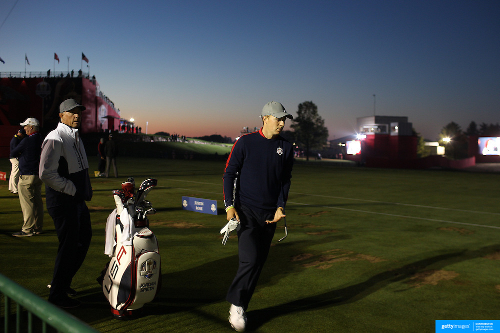 Ryder Cup 2016. Day One. Jordan Spieth of the United States practicing at dawn before the start the Ryder Cup at the Hazeltine National Golf Club on September 30, 2016 in Chaska, Minnesota.  (Photo by Tim Clayton/Corbis via Getty Images)