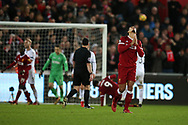 Virgil van Dijk of Liverpool looks dejected as his team fail to score in the final minutes. . Premier league match, Swansea city v Liverpool at the Liberty Stadium in Swansea, South Wales on Monday 22nd January 2018. <br /> pic by  Andrew Orchard, Andrew Orchard sports photography.
