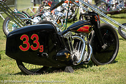 Bobby Green and invited builder Justin Walls' Petrali Tribute 1948 Harley UL Harley-Davidson custom in the invited builder corral at the Born Free chopper show on setup day in Silverado, CA. USA. Friday June 22, 2018. Photography ©2018 Michael Lichter.