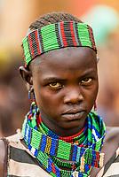 Woman at Hamer tribe weekly market in Turmi, Omo Valley, Ethiopia.