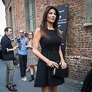 Terzo giorno della Settimana della Moda a Milano edizione 2013: Trussardi ha scelto la Rotonda Besana per la sfilata. Ilaria D'Amico<br /> <br /> Third day of Milan fashion week 2013 edition: Trussardi chose Rotonda Besana for his fashion show.