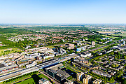 Nederland, Flevoland, Lelystad, 07-05-2018; Lelystad Centrum met NS station, Stadhuisplein <br /> Lelystad city centre.<br /> <br /> luchtfoto (toeslag op standard tarieven);<br /> aerial photo (additional fee required);<br /> copyright foto/photo Siebe Swart