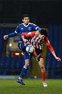 Sunderland midfielder Grant Leadbitter (23) battles for possession with Ipswich Town  during the EFL Sky Bet League 1 match between Ipswich Town and Sunderland at Portman Road, Ipswich, England on 26 January 2021.