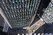 Looking down from an aerial angle, towards corporate offices in the City of London, the capitals ancient financial district, on 13th May, in London, England.