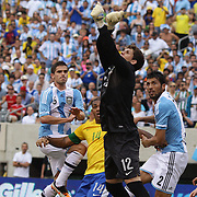 Brazilian keeper Rafael Cabral, punches clear during the Brazil V Argentina International Football Friendly match at MetLife Stadium, East Rutherford, New Jersey, USA. 9th June 2012. Photo Tim Clayton