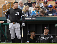 GLENDALE, ARIZONA - FEBRUARY 23:  Avisail Garcia #26 of the Chicago White Sox looks on during the game against the Los Angeles Dodgers on February 23, 2018 at Camelback Ranch in Glendale Arizona.  (Photo by Ron Vesely)  Subject:   Avisail Garcia