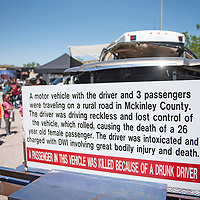 A motor vehicle involved in a DWI accident in McKinley County resulting in the death of one of the passengers on display during McKinley County DWI awareness day Saturday, June 8, outside Rio West Mall in Gallup.