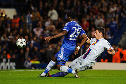Chelsea Forward Samuel Eto'o (CMR) is challenged by Basel Defender Fabian Schar (SUI) as he chips towards the goal during the second half of the match - Photo mandatory by-line: Rogan Thomson/JMP - Tel: 07966 386802 - 18/09/2013 - SPORT - FOOTBALL - Stamford Bridge, London - Chelsea v FC Basel - UEFA Champions League Group E