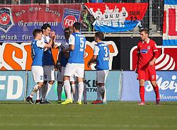 01.11.2014, Voith Arena, Heidenheim, GER, 2. FBL, 1. FC Heidenheim 1846 vs SV Darmstadt 98, 12. Runde, im Bild Sandro Sirigu ( SV Darmstadt 98 ) Dominik Stroh-Engel ( SV Darmstadt 98 ) #Benjamin Gorka ( SV Darmstadt 98 ) Michael Stegmayer ( SV Darmstadt 98 ) rechts Robert Leipertz ( 1.FC Heidenheim ) nach dem 1:1 // during the 2nd German Bundesliga 10th round match between 1. FC Heidenheim 1846 and SV Darmstadt 98 at the Voith Arena in Heidenheim, Germany on 2014/11/01. EXPA Pictures © 2014, PhotoCredit: EXPA/ Eibner-Pressefoto/ Langer<br /> <br /> *****ATTENTION - OUT of GER*****