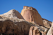 Golden Throne is a sandstone monolith from the Jurassic geologic period. Start this hike from Capitol Gorge Trailhead, in Capitol Reef National Park, Utah, USA.