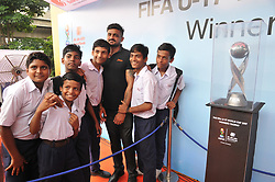 August 30, 2017 - Kolkata, West Bengal, India - The FIFA U17 World Cup 2017 Winners Trophy visit in Kolkata City  on August 30,2017 in India. (Credit Image: © Debajyoti Chakraborty/NurPhoto via ZUMA Press)