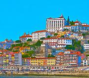 Digitally enhanced image of Ribeira cityscape, Old Town, Porto, Portugal as seen from Vila Nova de Gaia across the Douro River