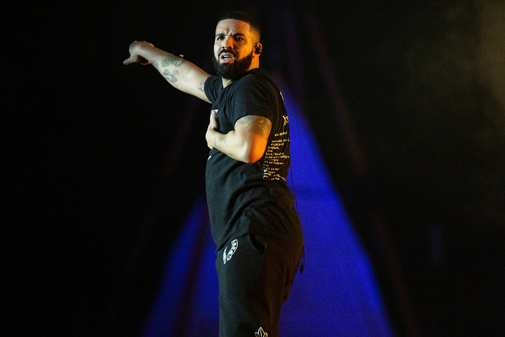 Drake makes a surprise appearance at Camp Flog Gnaw 2019 in Los Angeles, CA.