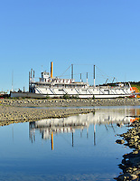 Sunny morning reflections of the SS Klondike on a summer day