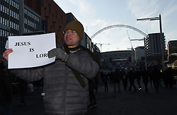 A religious evangelist outside Wembley ahead of the match