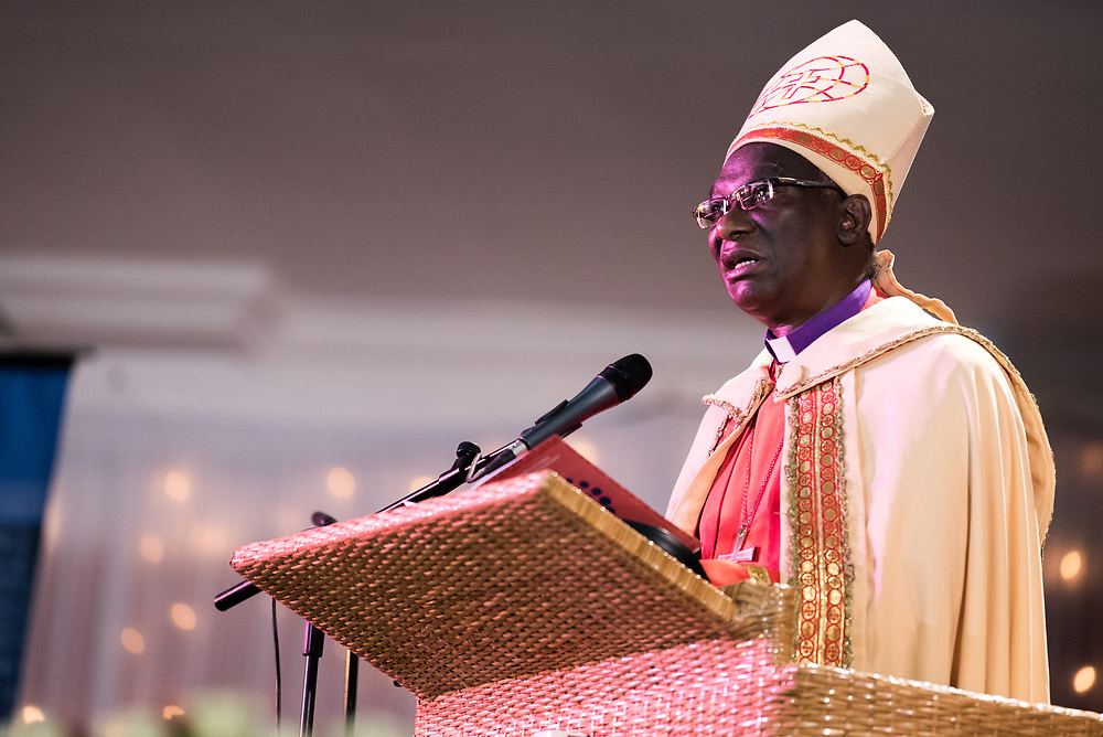 """8 March 2018, Arusha, Tanzania: From 8-13 March 2018, the World Council of Churches organizes the Conference on World Mission and Evangelism in Arusha, Tanzania. The conference is themed """"Moving in the Spirit: Called to Transforming Discipleship"""", and is part of a long tradition of similar conferences, organized every decade. Here, the gathering service. Here, words of welcome by Bishop Dr Fredrick Onael Shoo."""